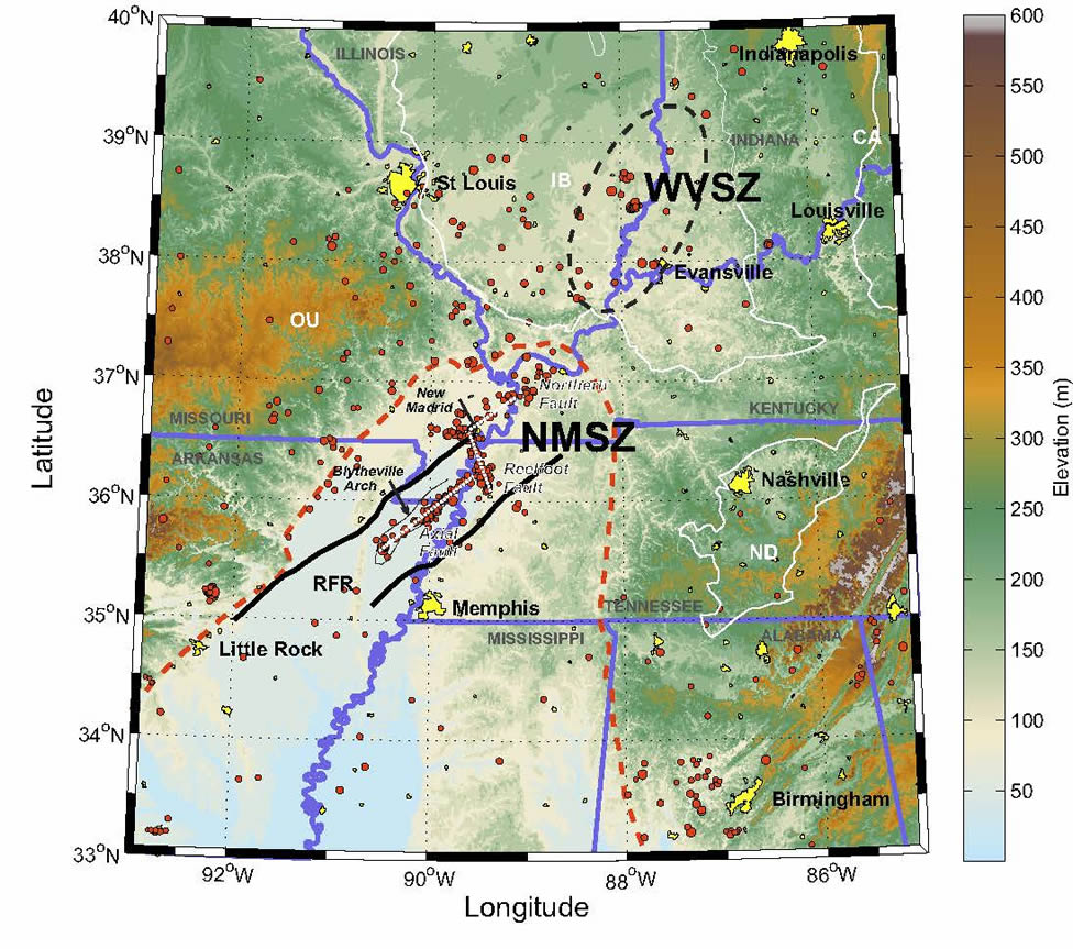Central US Seismic Velocity Model And M Simulation - Map of us after new madrid earthquake
