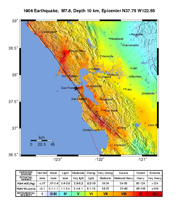 mmi shakemap of the bay area for the 1906 san francisco earthquake inferred from lawson 1908 by boatwright and bundock 2005
