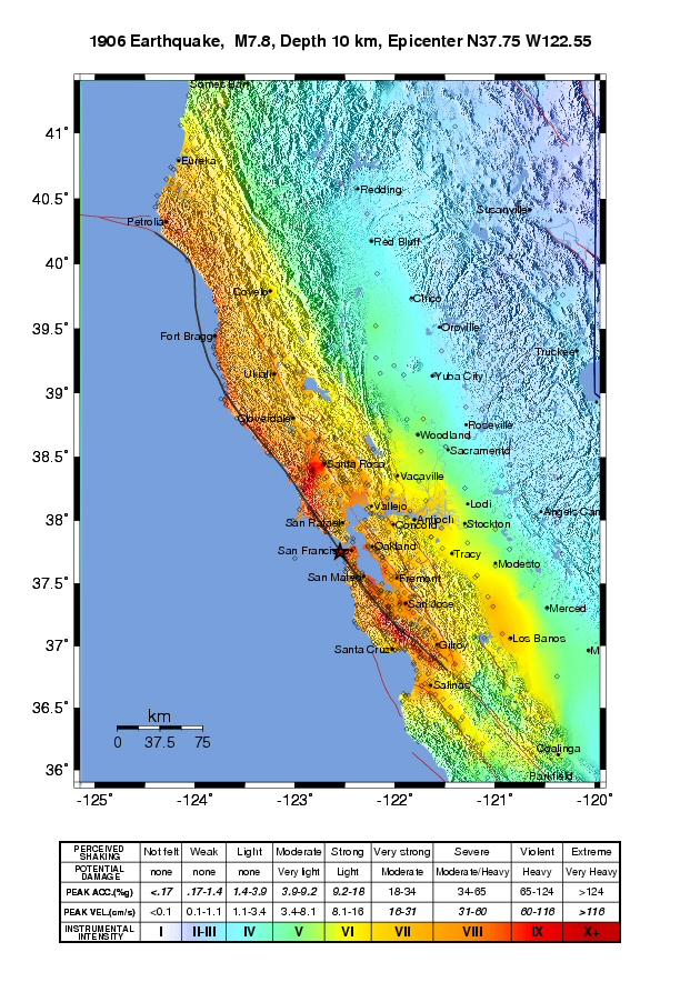1906 san francisco earthquake shakemaps