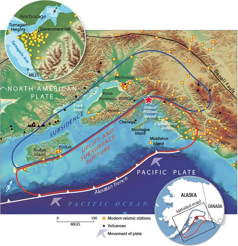 The Great M Alaska Earthquake And Tsunami Of March - Map of alaska and canada