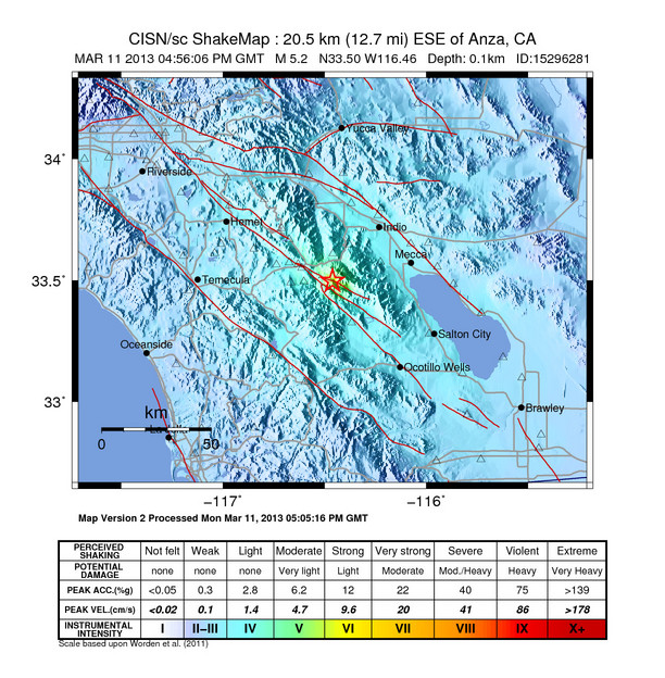Shakemap of the March 11, 2013 earthquake in southern California.