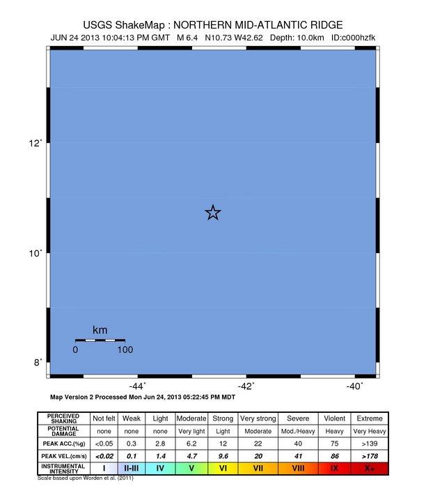 Northern Mid-Atlantic Ridge – 6.4 Magnitude Earthquake June 24th , 2013 Intensity